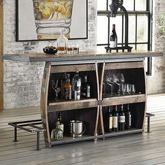Vintage Double Half Barrel Bar - Wine Enthusiast
