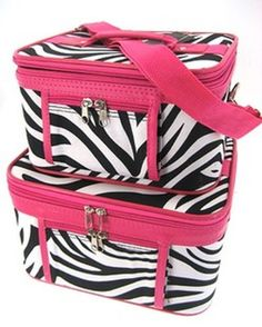 2-Piece Set - Zebra Print Cosmetic Cases w/ Fuchsia Trim >>> Read more at the image link.
