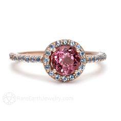 Pink Tourmaline Ring Aquamarine Halo 14K Gold Engagement Ring Custom Gemstone Ring