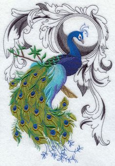 Peacock Flourish - Embroidered Decorative Linen Towel or Absorbent Solid White Cotton Flour Sack Towel