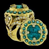 Crevoshay Cambodian Blue Zircon and Diamond Ring