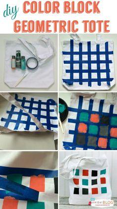 Color Block Geometric Tote DIY Color Block Geometric Tote from eBook Happy Handmade Fabric Painting, Diy Painting, Painted Bags, Painted Canvas, Hand Painted, Wall Canvas, Diy Bags Tutorial, Diy Cadeau, Diy Bags Purses