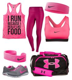"""""""Running"""" by bige2477 ❤ liked on Polyvore featuring NIKE, Under Armour, women's clothing, women's fashion, women, female, woman, misses and juniors"""