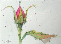 "Language of Flowers ACEO Pink Rosebud ""Grace""  watercolor. $7.50, via Etsy."