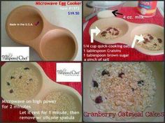 Cranberry Oatmeal in Microwave Egg cooker. To purchase go to http://pamperedchef.biz/malynnssoutherngrace