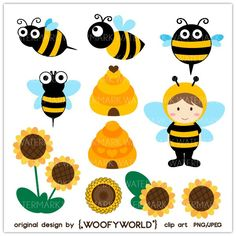 WA71 Bumble Bee - Personal and Commercial Use digital clip art - bee,hives,kids,boy,bugs,critters,sunflower,black,yellow. via Etsy.