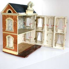 Antique Two-Room Dollhouse with Pediment and Clock - Probably Moritz Gottschalk