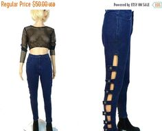 tempSALE Cut Out Denim High Waist Stretch by MirrorballBoutique