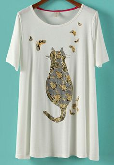 White Short Sleeve Cat with Butterfly Print T-shirt - Sheinside.com