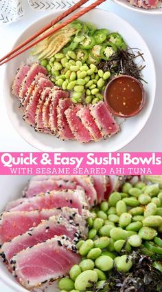 Lightly seared, sesame crusted ahi tuna tops these scrumptious sushi bowls filled with edamame, avocado, sushi rice and sweet sesame sauce! Homemade sushi bowls are high in protein and easy to make low carb by using cauliflower rice instead of sushi rice! Sesame Seared Tuna, Sesame Crusted Tuna, Seared Ahi, Healthy Tuna Recipes, Seafood Recipes, Easy Sushi Recipes, Keto Recipes, Healthy Eating, Fudge Recipes
