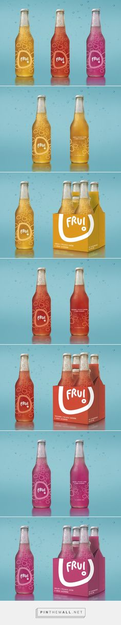 Fru! on Behance by Monika Walczak curated by Packaging Diva PD. The fun packaging just makes these look tasty. Branding and packaging for fruit beverages (ecological produced polish fruit and juice with refreshing sparkling water.