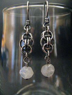 Sterling Silver Moonstone Earrings, Handmade Chainmaille Dangle Earrings, Wire Wrapped Moonstone Earrings