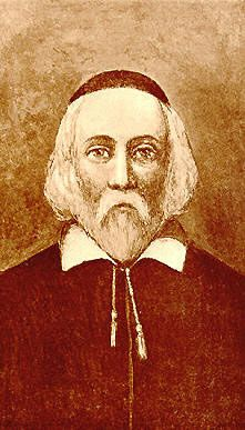 Elder William Brewster, of the Mayflower.  I am a direct descendant of his, on my mother's side.