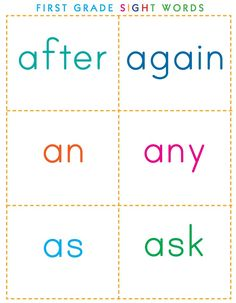 sample page of the printable sight words available for FREE on book-love.net