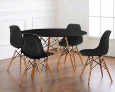 Conjunto de Mesa e Cadeiras Eames Preto Pés Madeira