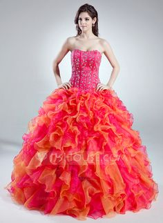 [US$ 249.69] Ball-Gown Sweetheart Floor-Length Organza Quinceanera Dress With Beading Cascading Ruffles (021016018)