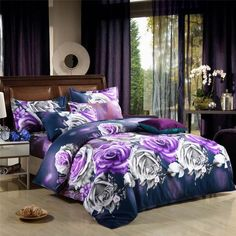 Wholesale Bed In a Bag - Buy Quality Blue Rose Flower Prints Grey Bedding Sets Quilt/duvet Covers Sets for Full/queen Comforter Sets,DHL . Purple Bedding Sets, Purple Bedrooms, Grey Bedding, Luxury Bedding, Gucci Bedding, Bed Comforter Sets, Queen Bedding Sets, Rose Comforter, 3d Bedding Sets