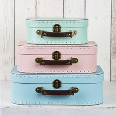 Pastel Retro Suitcases Set of 3 (43 AUD) found on Polyvore featuring bags, blue and icon