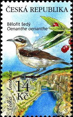Stamp: Northern Wheatear (Oenanthe oenanthe) (Czech Republic) (Protection of Nature: Karlštejn Region) Mi:CZ 774,Sn:CZ 3579b,AFA:CZ 781,POF:CZ 774