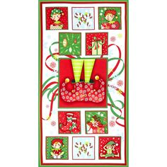 Naughty Or Nice Panel White/Red  from @fabricdotcom  Designed by Dana Brooks for Henry Glass & Co., this cotton panel is perfect for quilting and home decor accents.  Colors include white, black, blue, yellow, brown, peach, pink, shades of red and shades of green.  This panel measures approximately 23.5'' x 44''.