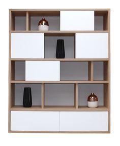 Bookcase 4 Sliding Doors 3 Drawers Bleached Oak & … - Home Page Living Room Partition Design, Room Partition Designs, Bookcase Wall, Bookshelf Design, Wall Shelves, Study Table Designs, Book Cabinet, Floating Shelves Bathroom, Bathroom Storage