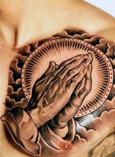 Upper Chest Male Praying Hands Tattoo With Clouds