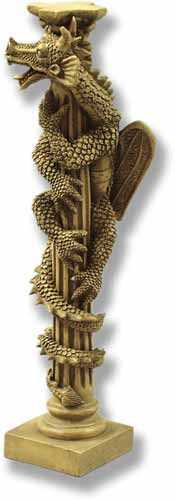 Dragon on Column Statue. A unique piece featuring a Dragon wrapping itself around a Greek column. Great detail on this piece made from fiberglass with several finish options available.