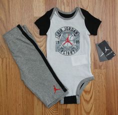 Air Jordan Baby Boy Bodysuit & Pants Set ~ Gray, White, Black & Orange Red ~ #Jordan #Jumpman #23 #1985