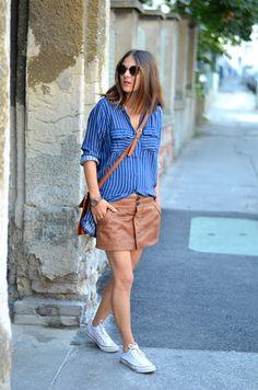 Leather skirt #Mango / #hm shirt / www.romilikes.com