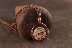 Wooden Button Pendant Necklace - Red, Black and Creme Flower Pattern