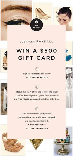 Show us your cool wedding style! Pin to Win a $500 Gift Card to LoefflerRandall.com hosted by Loeffler Randall and East Side Bride. #LoefflerRandall #HitchedInLR