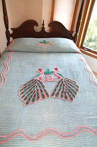 Vintage Double Peacock Peacocks Chenille Bedspread 88 x100 Full Size   eBay