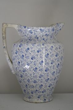 Large sheet transferware pitcher blue and white by WWBdesign, $195.00