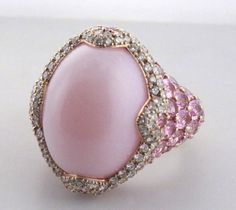 Asprey Ring in 18k Yellow Gold with Pink Chalcedony, Pink Sapphires & Diamonds
