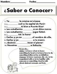 Saber vs. Conocer Worksheet. This is a great short practice once students have been introduced to the differences between the verbs conocer and saber. There are 10 different fill in the blank sentences. Students not only have to choose the correct verb, but also make sure they conjugate it for the correct subject. There is a friendly reminder at the bottom of the page for students to read in order to remember when to use the verb saber and when to use the verb conocer.