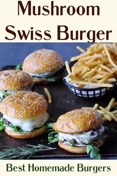 BEST Mushroom Swiss Burger! Easy, Delicious and MUST try mushroom Swiss Burger Recipe! #HomemadeBurgers never tasted so good! Grilled Burger Recipes, Best Burger Recipe, Gourmet Burgers, Beef Burgers, Sandwich Recipes, Meat Recipes, Baking Recipes, Mushroom Swiss Burger, Homemade Burgers