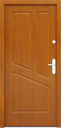 Drzwi zewnętrzne drewniane  model 592f w kolorze złoty dąb