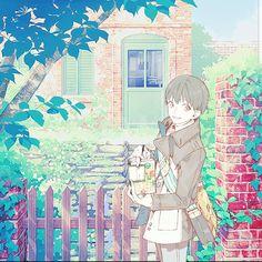 Ken Kaneki Tokyo ghoul cute kawaii pastel wallpaper outside pastel colorful outdoors black hair green leaves