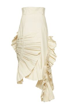 This **Jacquemus** Pleated Asymmetric Skirt features a fitted high rise waist, overly pleated structured hem, and asymmetric hemline.