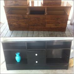 I did this myself! My neighbors got rid of an old dresser that was missing a drawer and I turned it into a TV stand for my new house! I used gloss spray paint from Home Depot for both the dresser and the vase ~$3.50 per can. Purchased scrap plywood at Home Depot as well for the shelves ~$7 total. Total cost of the project ~$40. #HomeDepot #DIY