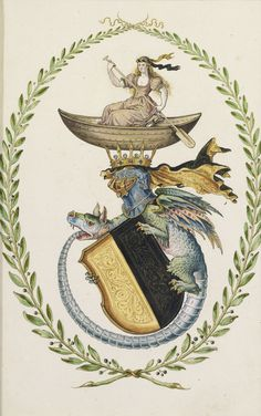 Design for coats of arms, German School, Century, pen and black ink, watercolor and gouache heightened with gold Medieval, European Paintings, Old Master, Coat Of Arms, 17th Century, Painting Inspiration, Decoration, Modern Art, Drake
