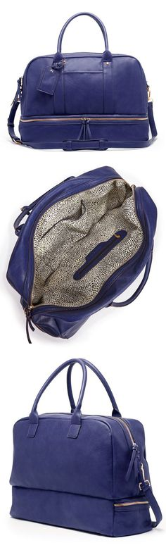 Weekender Travel Bag is a hybrid travel tote/gym bag that comes complete with a separate bottom compartment for shoes.