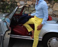 A pair of yellow pants. Works good in spring.