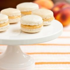 Vanilla Bean Macarons filled with Peach Preserves