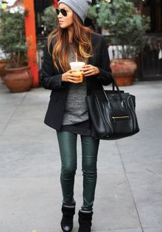 Green pants and beanie