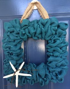 Beachy burlap square wreath - For sale - $35 plus $10 shipping. Erin Makes Stuff page on Facebook.