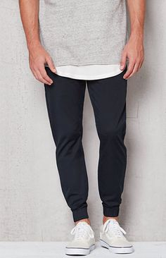 Cop a street-inspired look to rock on the daily with the PacSun Skinny Jogger Pants. These go-to pants have a rich black wash, front and back pockets, a soft chino construction, and a comfortable elasticized waist with adjustable drawstrings. Black Jogger Pants, Skinny Joggers, Pacsun, Cool Outfits, How To Wear, Clothes, Style, Rock, Inspired