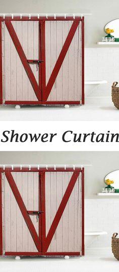 3D Wooden Door Shower Curtain