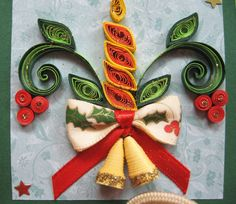 Part 2 of 3---Handmade Christmas Card Quilled Christmas Candle by stoykasart