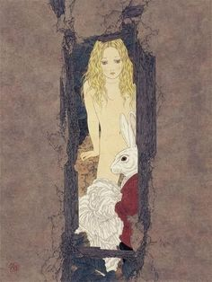 Takato Yamamoto - The same 'Alice' with the mushroom, is now nude with the hare. Takato is indeed a Japanese Balthus.